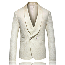 2019 new luxury beige wedding blazer jackets men plus size 5xl two button big collar mens wool jacket