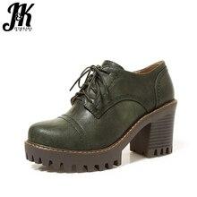 J & K 2018 большой Размеры 33-43 женские туфли-лодочки на квадратном каблуке Повседневное Кружево на шнуровке модная женская обувь на высоком каблуке Женская обувь на платформе