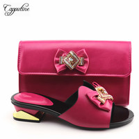 Graceful fuchsia medium heel slippers with handbag nice African shoes and bag set for party YA336 2, heel height 4cm