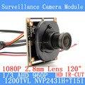 1.3MP 1280*960 Módulo de Câmera de CCTV AHD 960 P mini 1/3 1200TVL 2.8mm grande-angular de 120 graus câmera de vigilância ODS/Cabo BNC