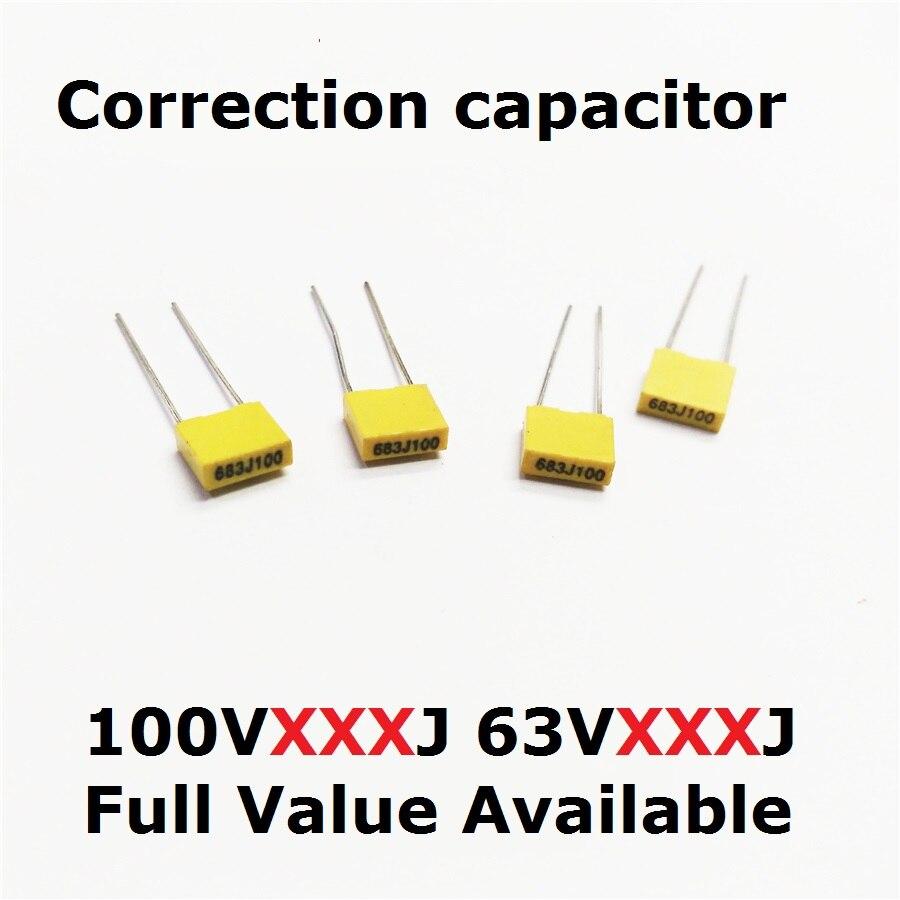 20PCS Correction Capacitor 100V 153J/124J/105J 63V 154J/224J/334J/474J/225J Polypropylene Film 0.15/0.22/0.33/0.47/2.2/1/UF/15NF