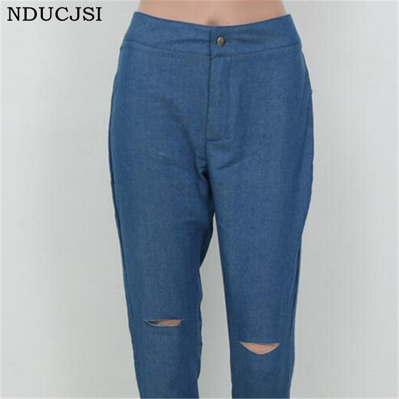 Denim Jeans Stretch Women Light Blue Plus Size Vintage Jeans Slim Ripped Hole Ripped Jeans For Women Button American Apparel joydu hole ripped jeans for women washed blue streetwear plus size denim boyfriend edging cool vintage retro jeans female 2017