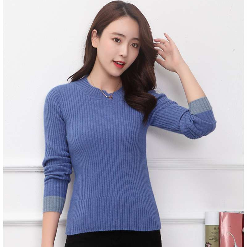 Lhzsyy Women's New 100%Pure Cashmere Sweater Fashion O Neck Knit High-End Pullover 2019autumn Winter Warm Slim Bottoming Sweater