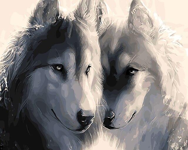Anjing Husky Anjing Hewan Abstrak Minyak Lukisan Gambar Dengan Nomor