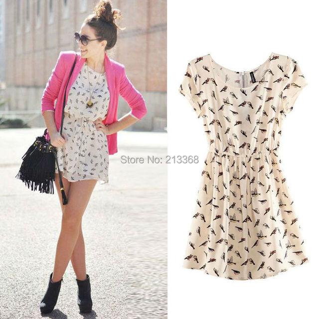 2014 Bargain venda quente mulheres primavera verão nova moda pássaro Animal Print Mini vestido Vintage Plus Size S-XXXL grátis frete 5953