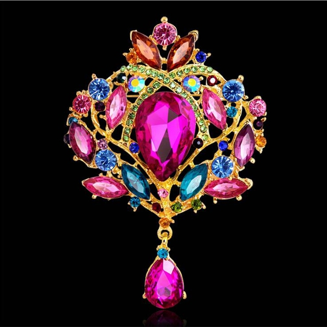High Quality Promotion Ethnic Crown Corsage Alloy  Rhinestone Glass Brooch Wedding Accessories Mother's Day For Women Gift