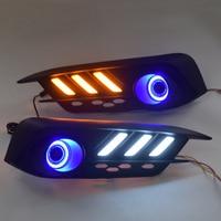 QINYI COB Angel eye + LED daytime running light DRL + Fog Lamp with Projector Lens + turn signal for Honda civic 10th 2016
