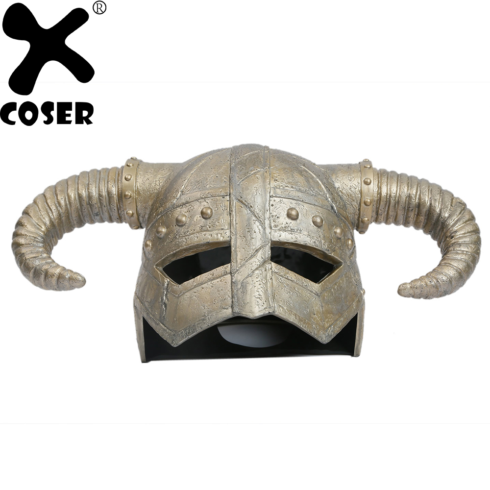 XCOSER The Elder Scrolls Game Cosplay Dragonborn Helmet Props Personality Horn Helmets Mask Costume Accessory Promotion