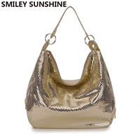 SMILEY SUNSHINE brand serpentine women handbag snake ladies big shoulder bag female top handle bag gold tote hand bag for womem