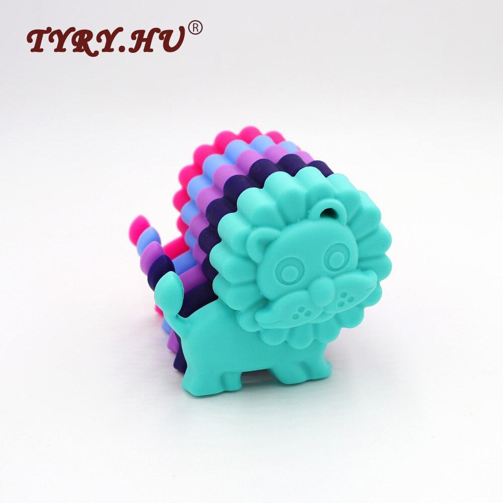 Tyry Hu 25pcs Multicolor Lion Shaped Silicone Pendant Bpa