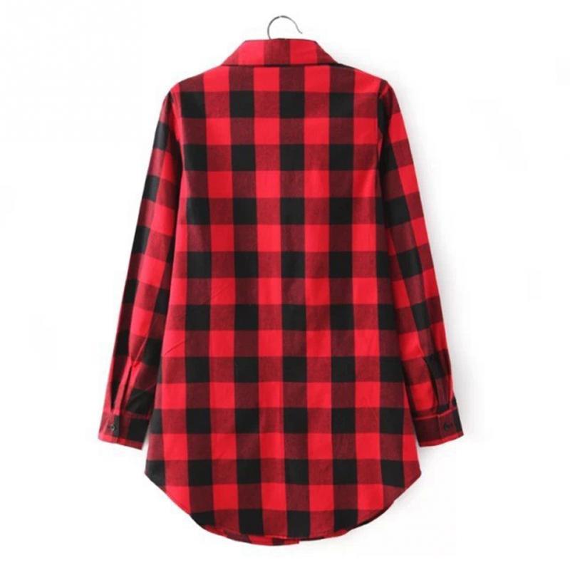 HTB1L uDJFXXXXctXXXXq6xXFXXXn - Flannel Shirt Women Black And Red Ladie Top Casual Blouse