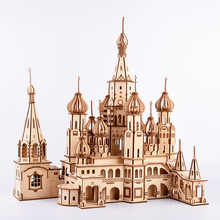 Personal collection exhibition souvenirs Model building 3D Wooden Assembly Puzzle St. Basil's Cathedral, Russia leningrad st isaac s cathedral