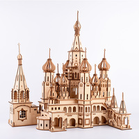 Personal collection exhibition souvenirs Model building 3D Wooden Assembly Puzzle St. Basil's Cathedral, Russia