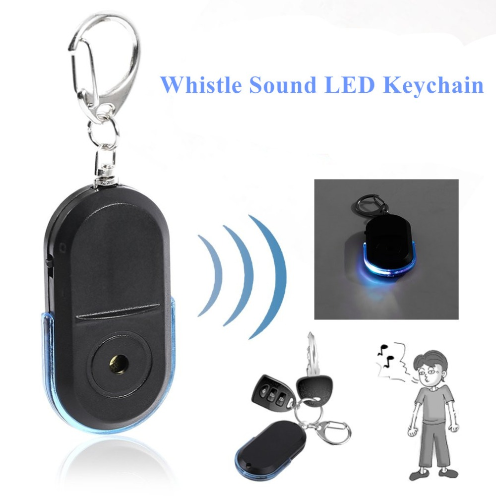 Portable Size Old People Anti-Lost Alarm Key Finder Wireless Useful Whistle Sound LED Light Locator Finder Keychain sound activated 433 92mhz 1 to 1 wireless key finder blue black 1 x cr2032