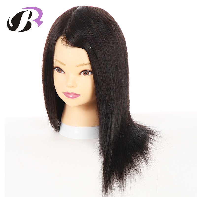 Female Natural Human Hair Mannequins Hairstyling Training Manikin Head Cosmetology Dolls Maquiagem Wig Model With Free Clamp graceful short side bang fluffy natural wavy capless human hair wig for women