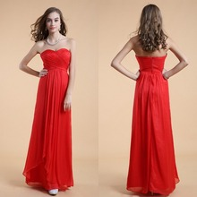 Elegante A-line Schatz Langen Roten Chiffon Abendkleid Kleid 2015 Backless Abend-formale Kleid Vestido De Noche Ärmel F2113