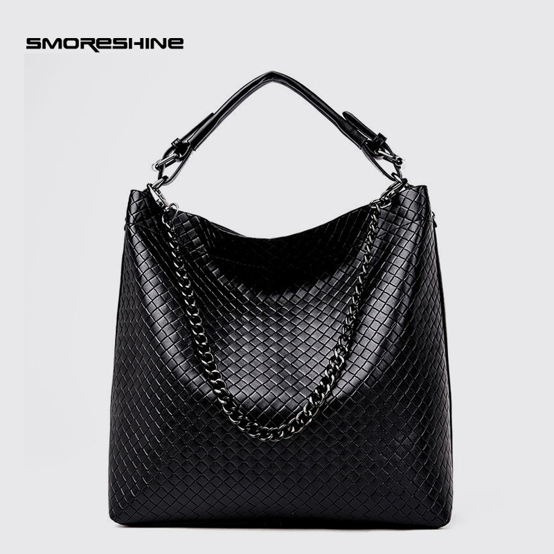 SMORESHINE High grade PU leather women large shoulder bag female Knitting design bucket bag Casual chains women's handbags tote casual women s shoulder bag with beauty print and pu leather design