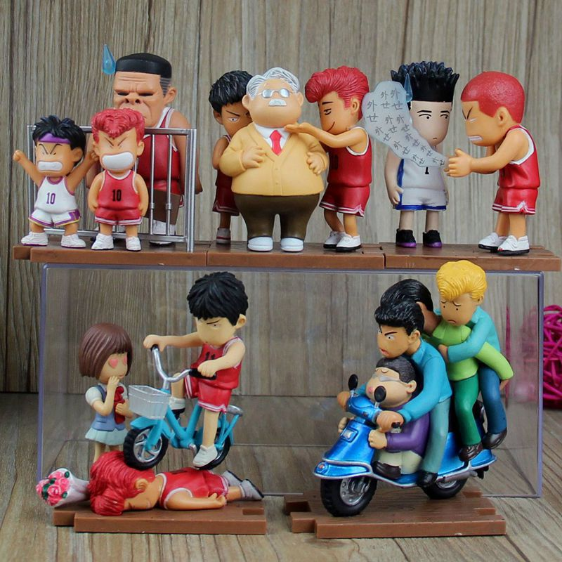 2015 Slam Dunk action Figures 5 pcs/set Japanese Anime Figure 8CM Hot Toys Pvc Cartoon Figure Kid Gift Brinquedo Free Shipping huong anime slam dunk 24cm number 11 rukawa kaede pvc action figure collectible toy model brinquedos christmas gift
