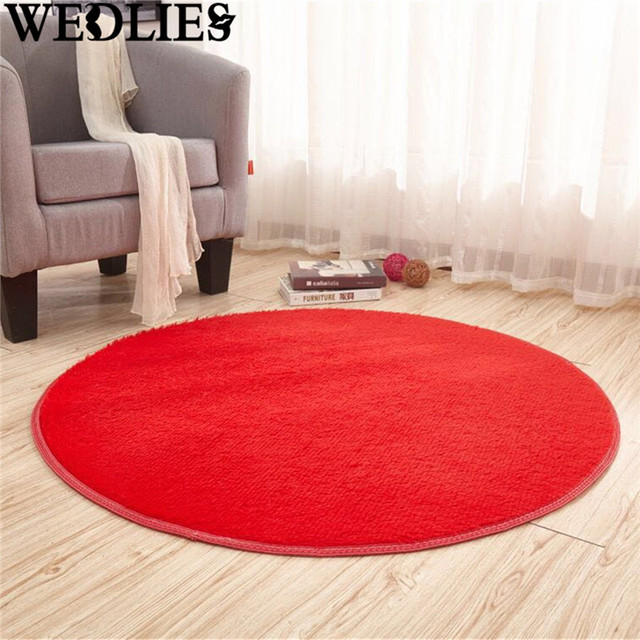 Fashion Red Floor Mats Modern Gy Round Rugs Carpets Long Hair Faux Fur Living Room Bedroom
