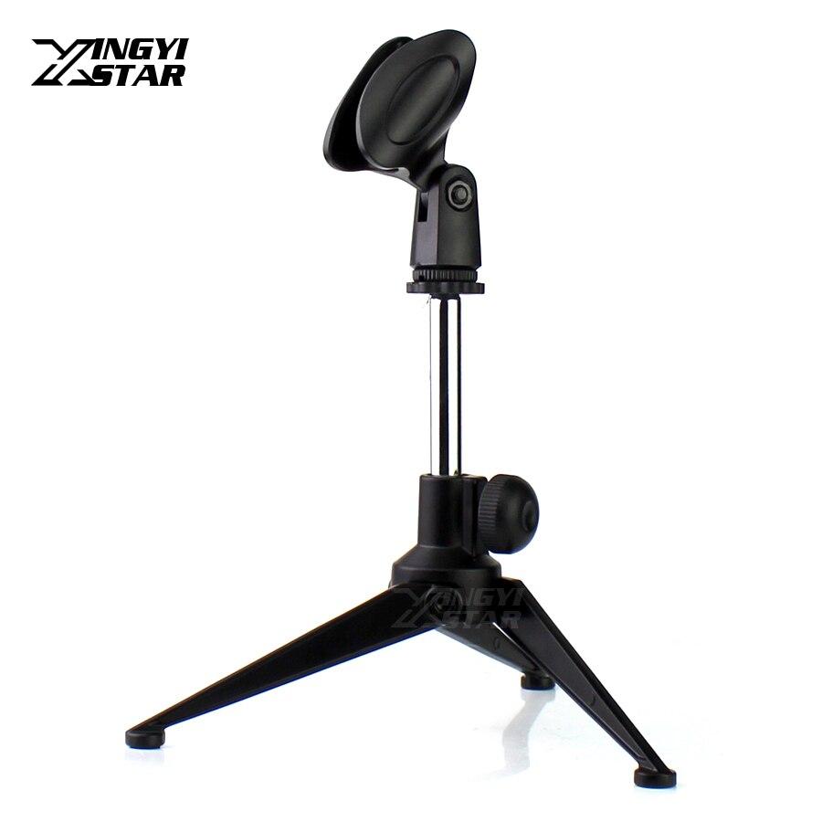 Discount Universal Metal Desktop Handheld Microphone Stand Tripod Mic Shure Sm57 Instrumen Clip Holder For Sm 58 Beta 58a 57a 87a 87c Pga48 Pga58