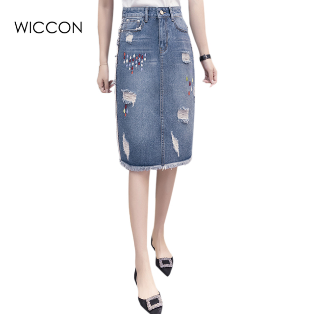 3829f98f79a1c1 Women Raindrop embroidery ripped denim midi skirt slim thin European style  female casual knee length skirts jeans jupe WICCON