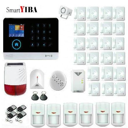 Cheap SmartYIBA WIFI App Remote GSM Alarm GPRS Wireless Home Security Alarm System Kit with Gas/Smoke Sensor and Outdoor Solar Siren