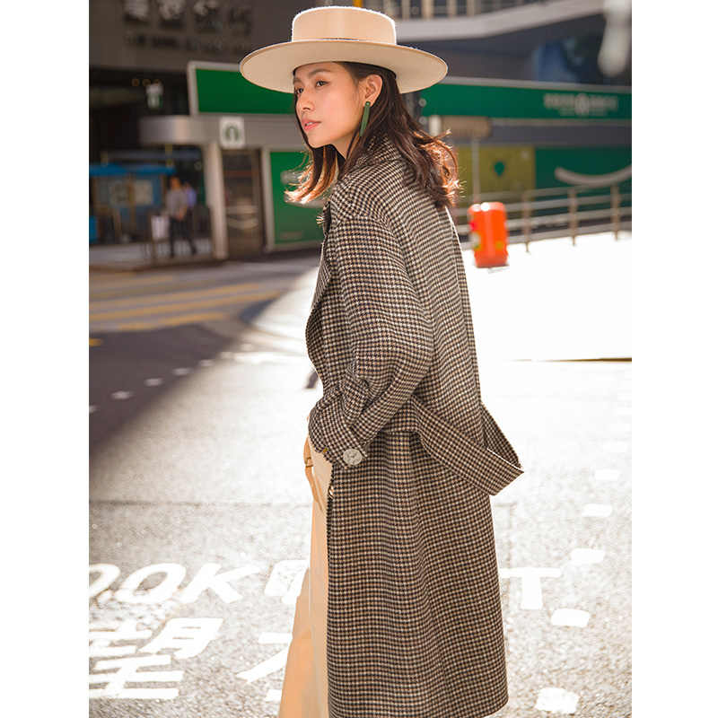 INMAN Autumn Long Loose Style Women Double Breasted Plaid Pattern Trench Outerwear Coat