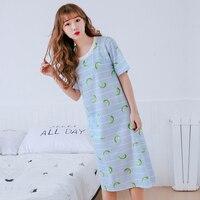Taze Limon baskı 100% pamuk uzun kadın nightgowns Bahar Kısa kollu O-Boyun pijama kadınlara camisones de dormir sexi