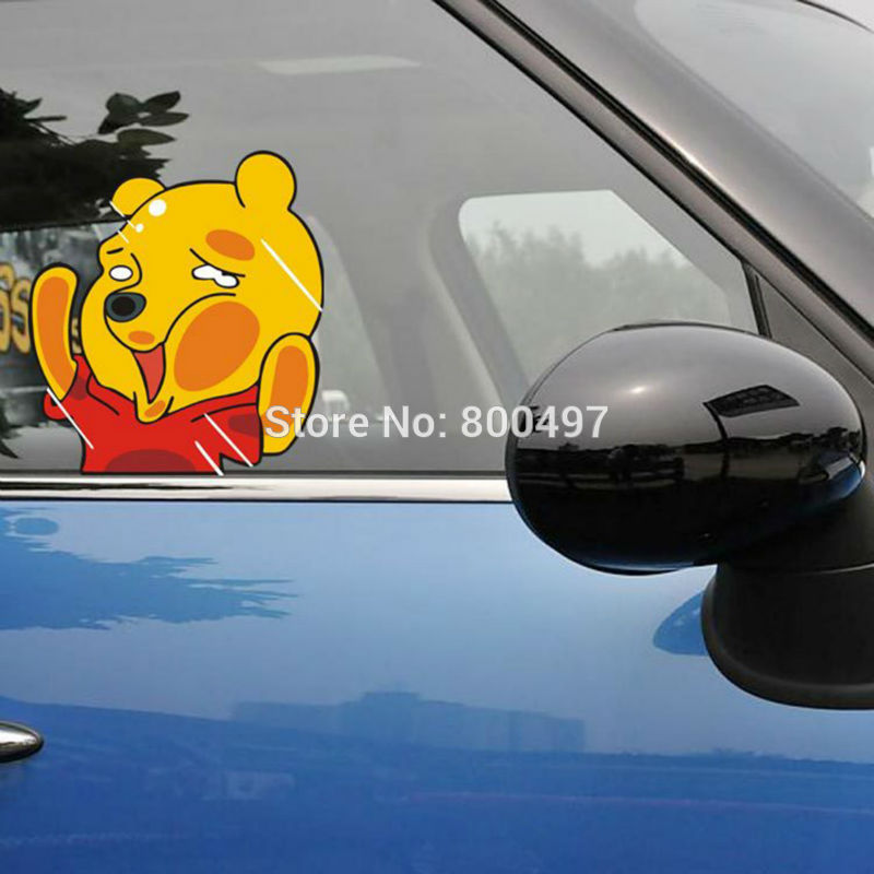 10 x Newest Car Styling Funny Winnie Hitting the Glass Car Stickers Decals for Toyota Honda Chevrolet Volkswagen Tesla BMW Lada