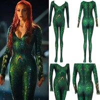 Movie Aquaman Mera Costume Justice League DC Superhero Halloween Cosplay Zentai Jumpsuits Heard Queen of the Sea Cos