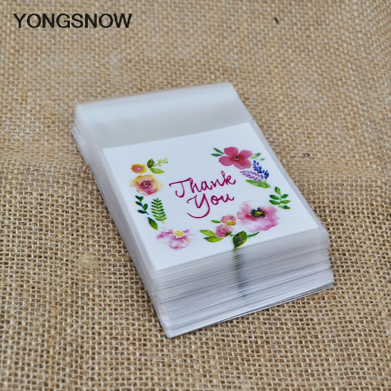 Christmas Decorations Small Thank You Plastic Bags Candy Bag DIY Food Cookie Bags Gift Packaging Pouches Festival Party Supplies