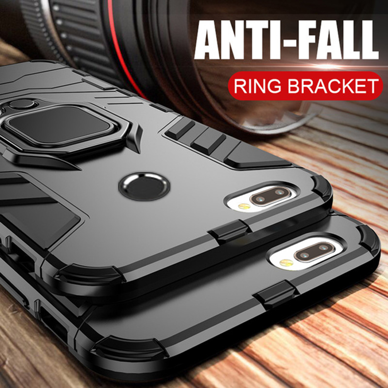 Luxury Armor Ring Case For Huawei P Smart Case Magnetic Anti-Fall Soft Edge Shockproof Full Back Case For Huawei P Smart case(China)