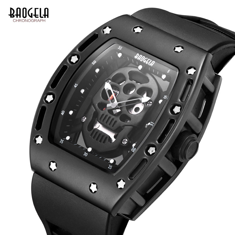 Top Luxury Brand BAOGELA Fashion Men Watches Hollow Silica gel Clock Male Casual Sport Watch Men Lumin Wrist Quartz Sport Watch mens watch top luxury brand fashion hollow clock male casual sport wristwatch men pirate skull style quartz watch reloj homber