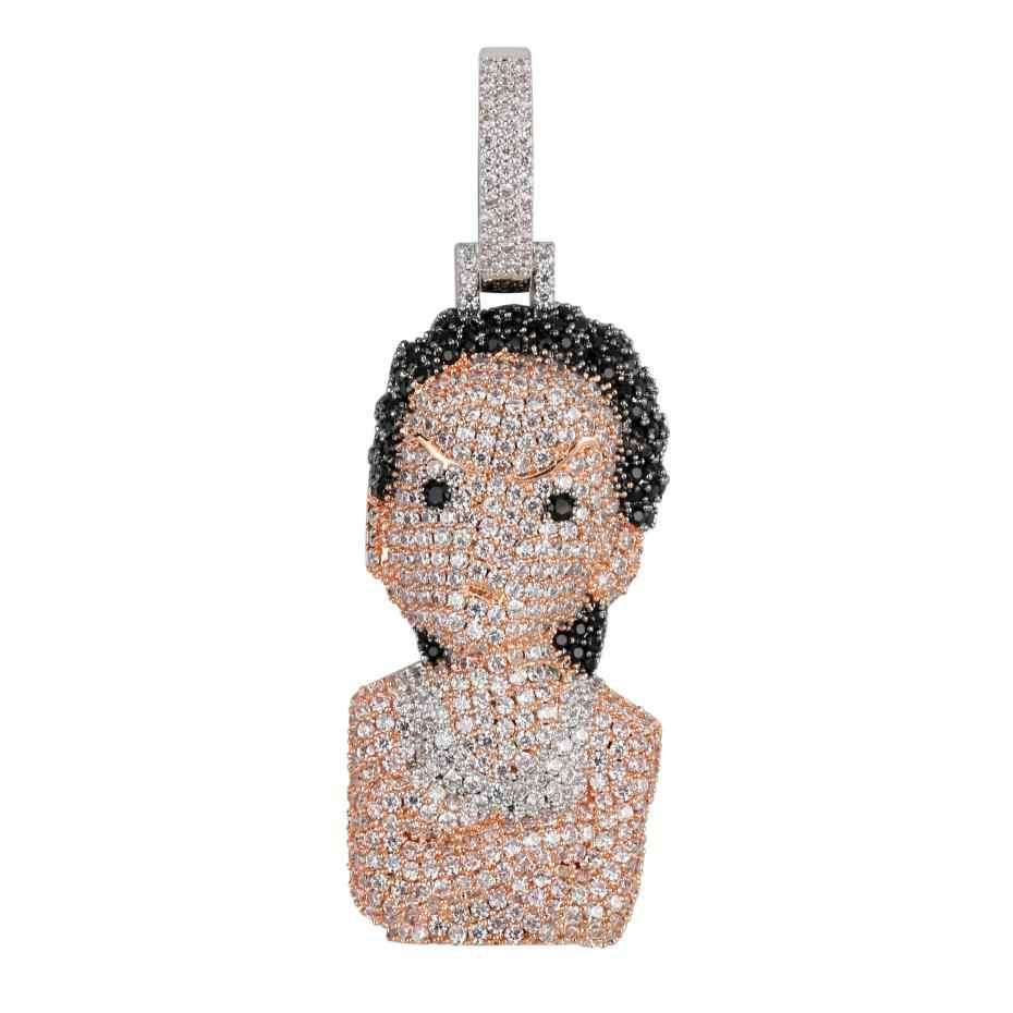 Iced Out Boondocks จี้ CZ สร้อยคอบุรุษ/ผู้หญิง Micro Paved Hip Hop Gold Silver สี Bling Charm โซ่เครื่องประดับ