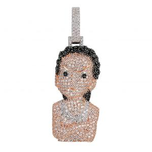 Image 2 - Iced Out The Boondocks Pendant CZ Necklace Chain Mens/Women Micro Paved Hip Hop Gold Silver Color Bling Charm Chains Jewelry
