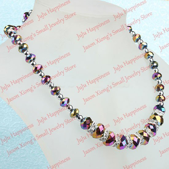 Fashion rainbow round crystal glass faceted beads necklace silver accessory necklace one piece 45cm 204 ...