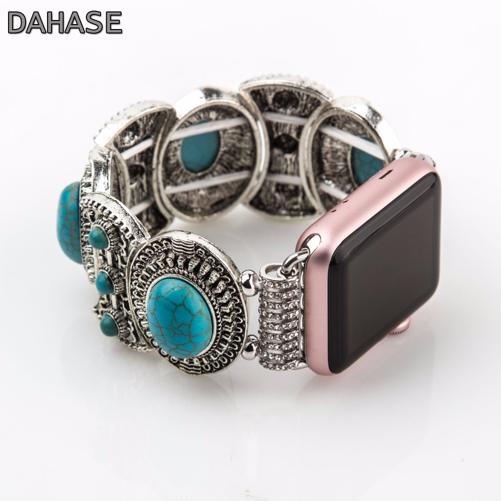 DAHASE Turquoise Watch Band Jewelry Strap Bracelet for Apple Watch iWatch 42mm 38mm Wristband with Adapters