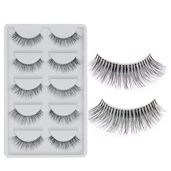 5 Pairs Natural Black Long Sparse Cross False Eyelashes Fake Eye Lashes Extensions Makeup Tools 1