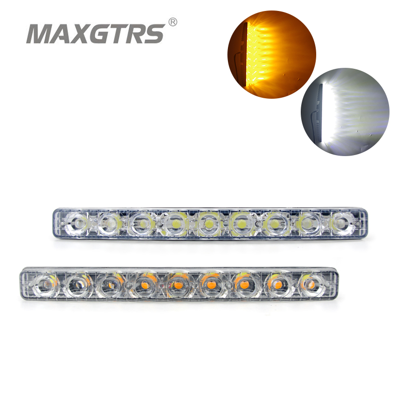2x Daytime Running Light Led 18W Led Car Light DRL Metal Shell Light Source Waterproof Car Styling White With Amber Turn signal