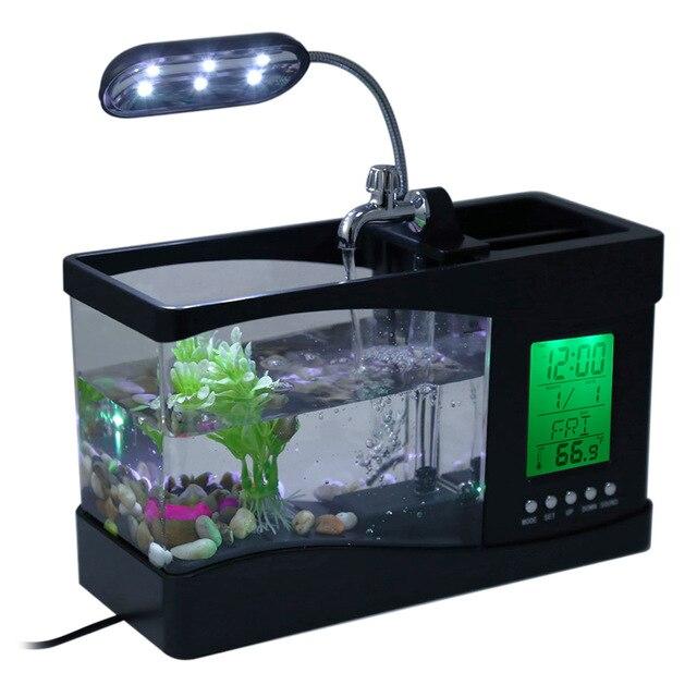Mini fish tank lamp usb desktop with water running led for Usb fish tank