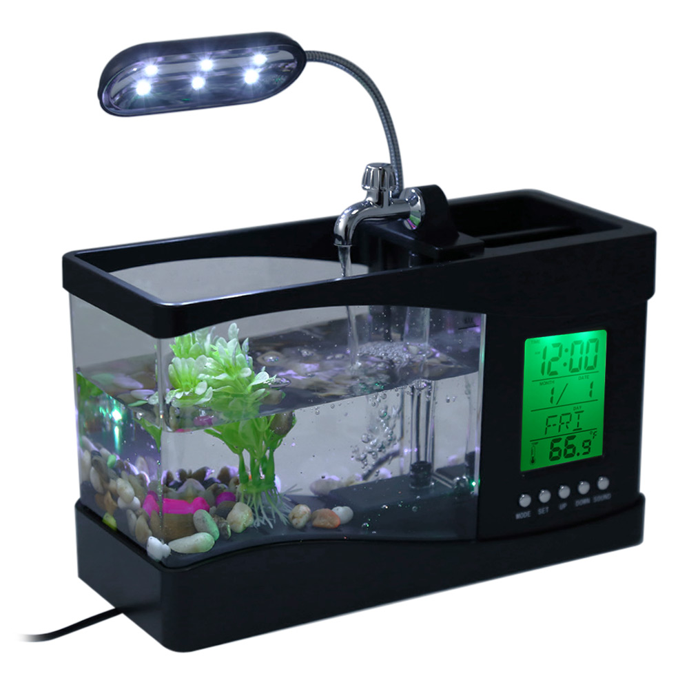 Fish aquarium price in pakistan - Mini Fish Tank Lamp Usb Desktop With Water Running Led Pump Light Calendar Alarm Clock Temperature
