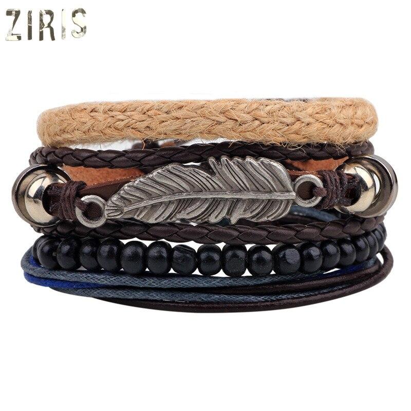 ZIRIS 2017Han Feng tree leaves bracelet handmade calfskin hemp rope multi - root combination women men bracelet