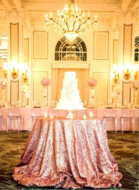 132 Inch Round Rose Gold Sequin Tablecloth Wedding Beautiful Table Cloth Overlay