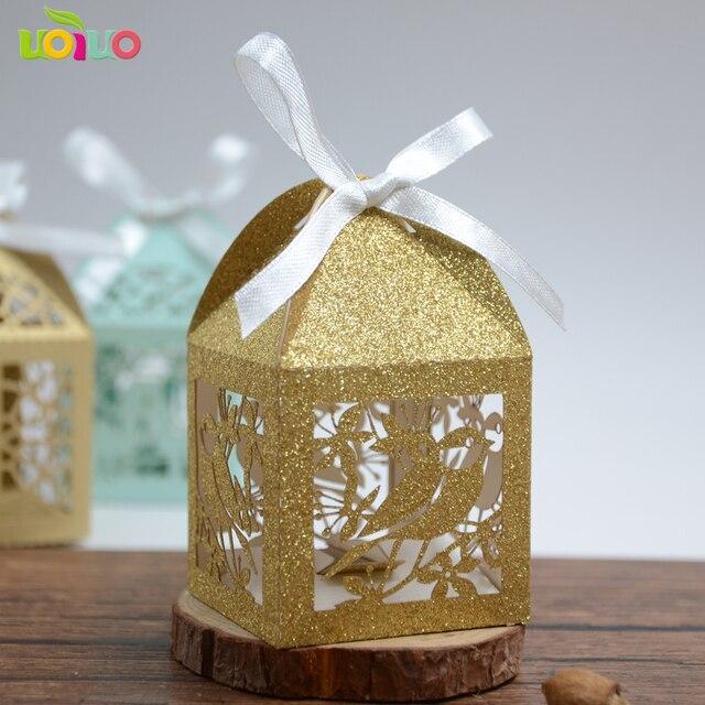 Super 50pc Romantic Wedding favors box glitter metallic rose gold navy  WT97