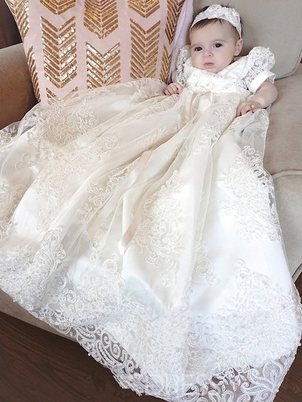 2018 New Lace Infant Girl Long Christening Baptism Dress ...