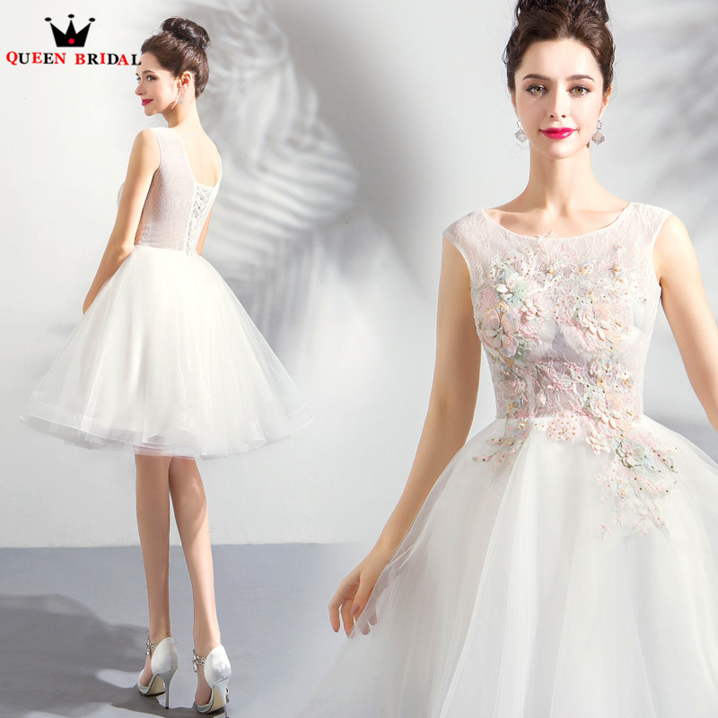 Detail Feedback Questions about Ball Gown Tulle Lace Beading Flowers Short  Ivory Bridal Evening Dresses 2018 New Arrival Evening Gown Robe De Soiree  JU25 on ... f671af72b3c6