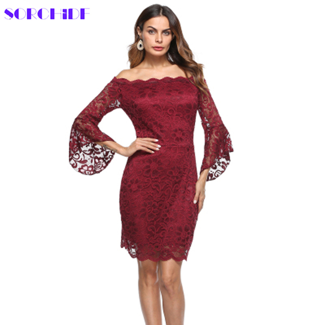 SORCHIDF 2018 New Sexy Floral Lace Dress Off Shoulder Long Sleeve Dress  Elegant Celebrity Party Plus Size Mini Dress Vestidos