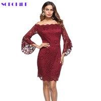 SORCHIDF 2018 New Sexy Floral Lace Dress Off Shoulder Long Sleeve Dress Elegant Celebrity Party Plus