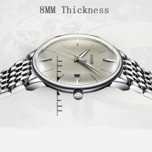Switzerland BINGER Top Brand Convex sapphire glass Fashion Business Automatic Mechanical Wa