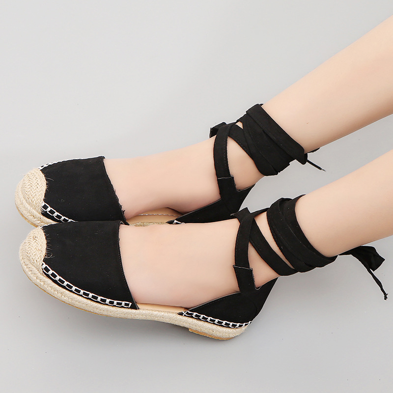 2018 Woman Rome Ankle Strap Flat Sandals Casual Patchwork Moccasins Loafers Espadrilles White/Black Plus cross tied shoes